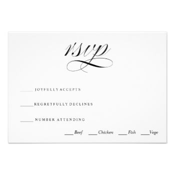 """A traditional and elegant black and white calligraphy script wedding rsvp card. """"Rsvp"""" script on one side with reply by date, guest name etc, and attendance and meal choice on the other side. #rsvp #rsvp #card #black #and #white #black #and #white #rsvp #card #elegant #traditional #rsvp #card #traditional #rsvp #card #calligraphy #rsvp #card #elegant #rsvp #card #formal #wedding #rsvp #card #traditional #wedding #rsvp #card #wedding #wedding #rsvp #poem #script #script #calligraphy #elegant…"""