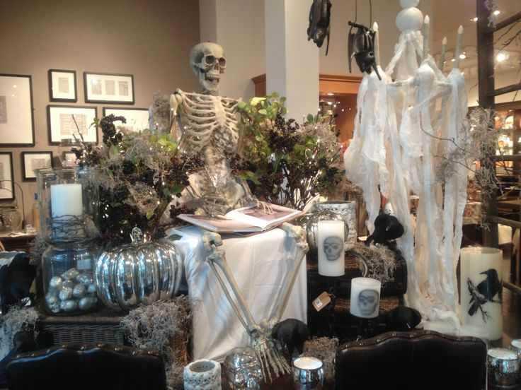 Pottery Barn Halloween Window Display Skelly Tons
