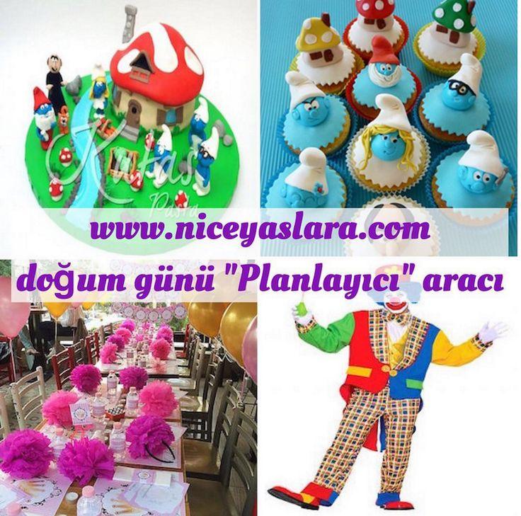 """Günün #doğumgünükutlaması planı #şirinler seven çocuklara. www.niceyaslara.com online #doğumgünü """"Planlayıcısı"""" aracı ile; #şirinlerpastası ve #sirinlercupcake siparişimi verip, #doğumgünümekanı ayarlayıp bir de #palyaço hizmeti seçtim mi iş dakikalar içinde tamam! Bu doğum gününde çocuğum çok eğlenecek!  Türkiye'nin doğum günleri için ilk ve tek online planlama aracı: niceyaslara.com """"Planlayıcı"""""""
