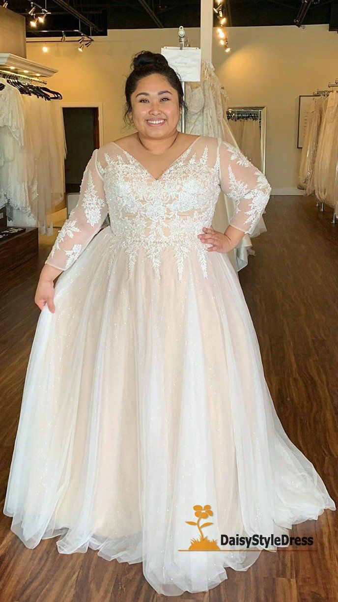 Modest Long Sleeve Plus Size Wedding Dress Di 2020 Gaun Gaun Perkawinan Gaun Pengantin Brokat