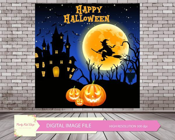 Halloween Backdrop, Halloween Party, Halloween Background, Halloween Banner, Halloween Photobooth, Moon Backdrop, Scary Backdrop, Halloween