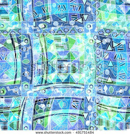 seamless ethnic pattern with decorative elements. white, blue, green  background .