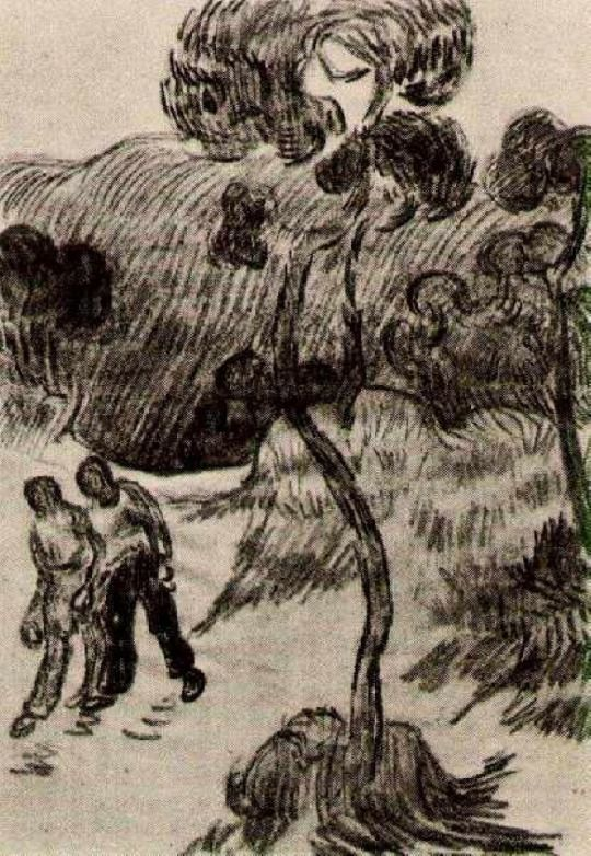 VINCENT VAN GOGH Two Men Walking in a Landscape with Trees, 1890
