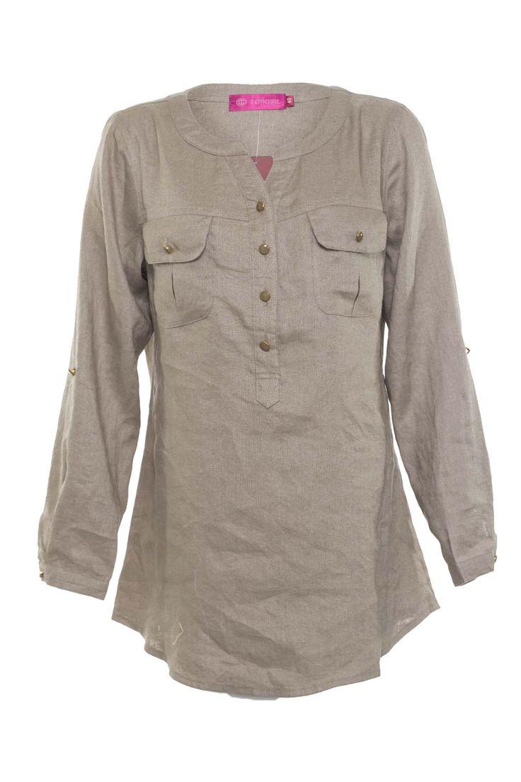 Linen Blouse with Pocket | TOPGIRL Malaysia - Plus sizes