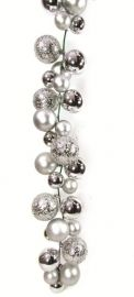 2.7m Silver Ball Garland With Various Baubles - Shiny & Textured  Code: BAGA270SILP