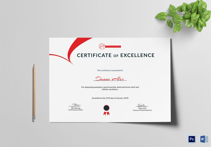 Physical Fitness Excellence Certificate Template  $9.99  Formats Included : MS Word, Photoshop  File Size : 11.69x8.26 Inchs #Certificates #Certificatedesigns #Excellencecertificates