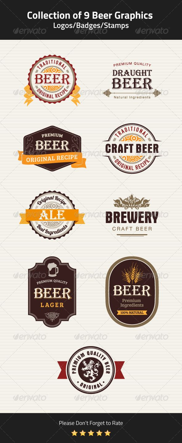 9 Beer Badges, Stamps and Seals Vector Template #design Download: http://graphicriver.net/item/9-beer-badges-stamps-and-seals/5359574?ref=ksioks