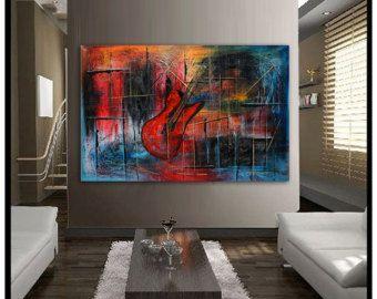 Pintura de arte abstracto original rojo y turquesa por largeartwork