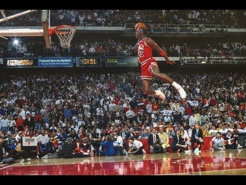 1988 NBA Slam Dunk Contest - Michael Jordan vs Dominique Wilkins  Thank you, Stuart Goldberger and YouTube!