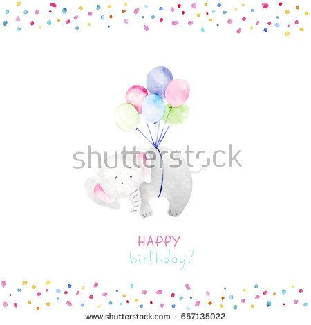 Adorable elephant illustrations for greeting cards and baby shower invitation design. Cute elephant baby illustration  @knyshksenya
