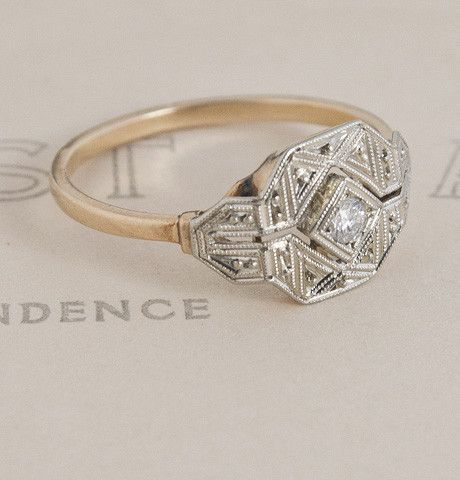 Ikat Art Deco Diamond Engagement Ring