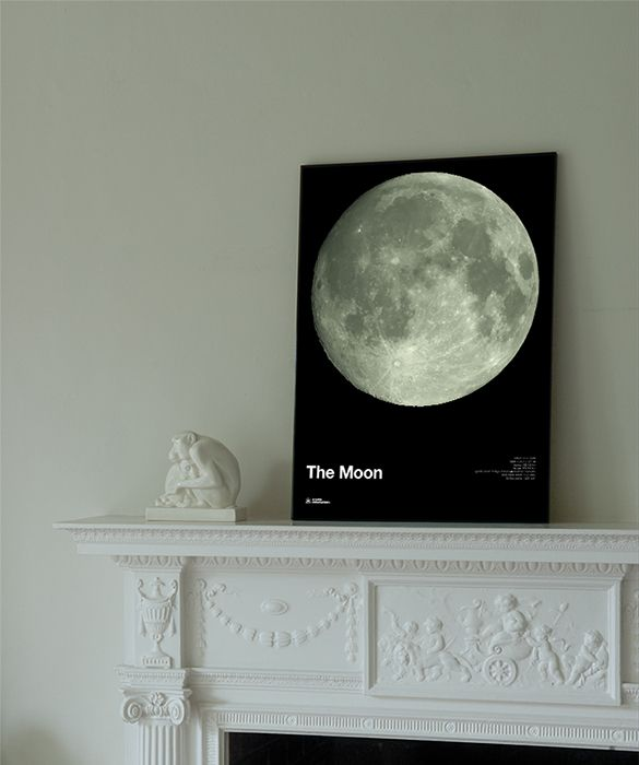 Moon glow-in-the-dark poster by Atomic Printworks for 77 Industries. 	A glow-in-the-dark poster showing the full moon as seen from the Earth. This poster is printed using a luminous phosphorescent coating so that it glimmers in the dark - just like the moon itself. 	The poster also includes a series of lunar facts and figures on radius, mass, orbital speed and gravity for budding astronomers. As popular with adults as it is with children. 	Printed in the UK on 200gsm coated paper using a…