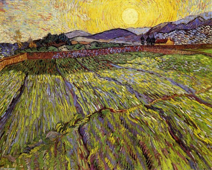 """""""weizen feld mit aufgehende sonne"""", öl auf leinwand von Vincent Van Gogh (1853-1890, Netherlands)"""