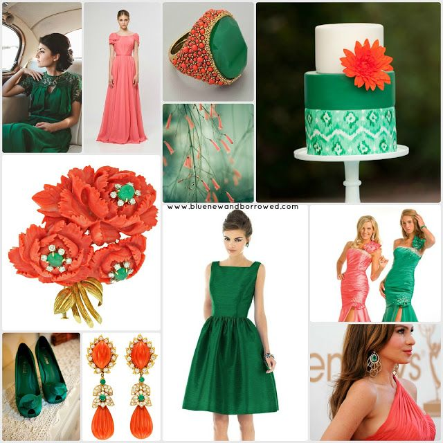 JADE GREEN & ICE BLUE WEDDING THEMES | Color Picks: Coral and Emerald