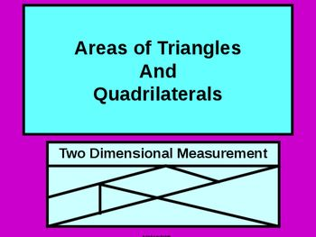 Here we present students with formulas to solve for AREAS of Triangles and Quadrilaterals;  specifically,triangles, rectangles, rhombus', squares, trapezoids, and kites are in focus. Examples are offered and the steps to solve are listed and worked out,  Students should be well prepared to tackle any assignments in solving for area.