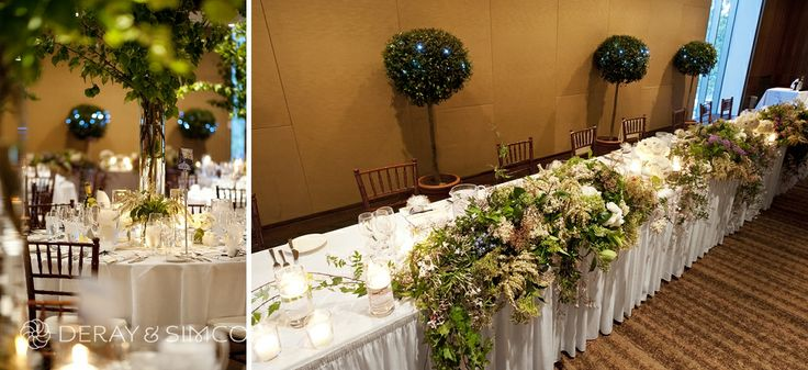 Amazing and enchanting woodland themed styling. Fresh flowers and foliage. Large vases filled with long stem tree branches. Wedding reception styling, ideas and inspiration.  Reception Venue: UWA Club  Photography by DeRay & Simcoe