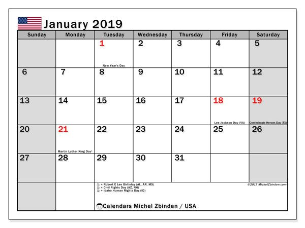 January 2019 Calendar With Holidays Usa Calendar March