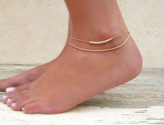 Gold Anklet Set, 2 Gold Anklets - Gold Rope Chain Anklet, Gold Tube Anklet,  Set Of 2 Anklets, Gold Filled Anklet, Layering Gold Anklets
