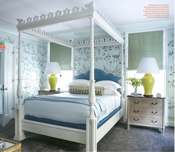 Bedroom-in-Nick-Olsen-Veranda-3: Blue Rooms, Decor Ideas, Blue Green, Blue Bedrooms, Colors Schemes, Canopies Beds, Chinoiserie Chic, Verandas Magazines, Nick Olsen