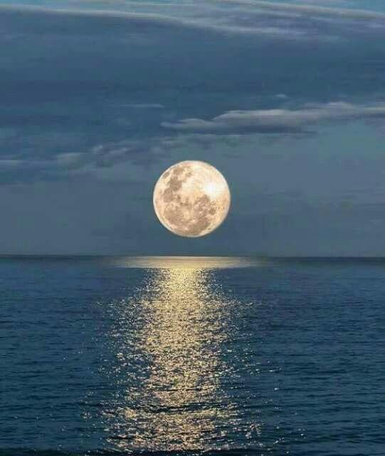 Super moon over the Ocean