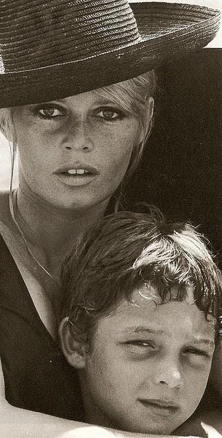 Brigitte Bardot with her son - 1967