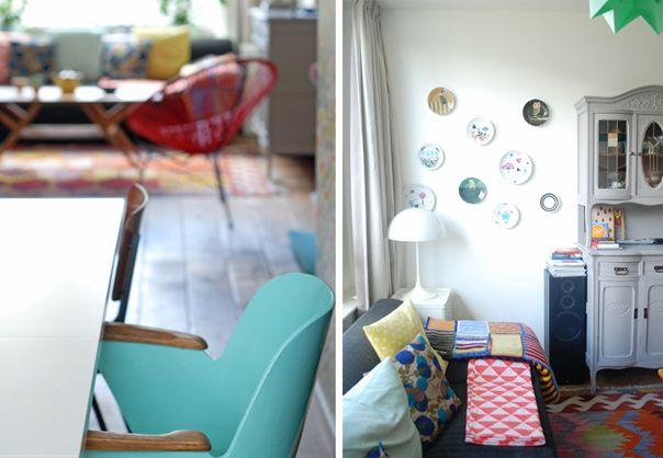 Ninainvorm : groene lamp boven salontafel