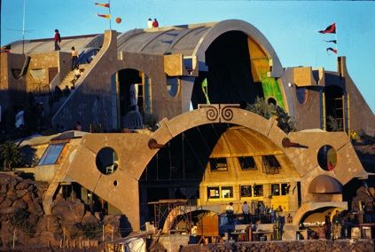 Arcosanti, northern Arizona, a ways down a dirt & gravel road from an exit off the interstate.