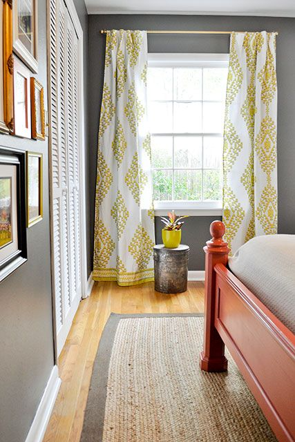 chartreuse global curtains made with a mandala ikat duvet cover from West Elm