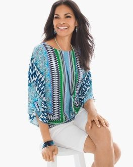 """This top's eye-catching print, with patterns ranging from swirled paisley to sleek stripes, is designed for the modern maven (i.e. you). The flowy, 3/4-sleeve design is finished with a contemporary cutout at the back for a look that's fabulously eclectic. 3/4-sleeves. Regular length: 26"""". Petite length: 24.5"""". Polyester, spandex. Machine wash. Imported."""