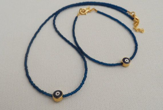 Navy Blue Evil Eye Necklace And by AccessoriesInLove on Etsy