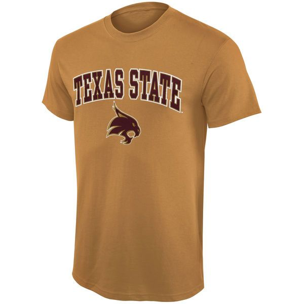 Texas State Bobcats Mid Size Arch Over Logo T-Shirt – Vegas Gold - $14.99