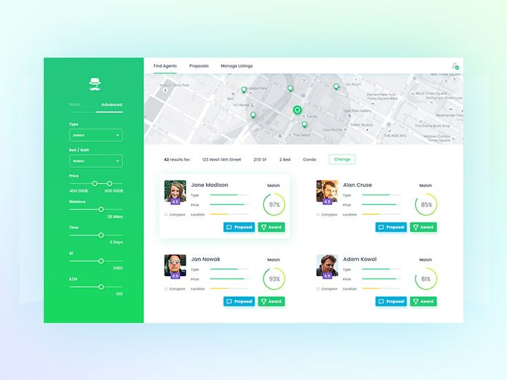 Property Agent search engine UI by Michał Smolec