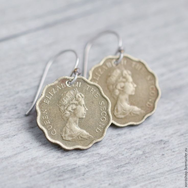 Купить серьги из монет с Елизаветой 1977 - золотой, бохо, винтаж, монета, Елизавета, круглые серьги