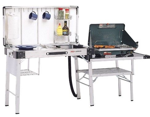 Magnetic Outdoor Camp Kitchen With Sink And Coleman Portable Propane Grill Also Vintage Coleman Folding Camping Table With Wall Mounted Spice Rack And Glass
