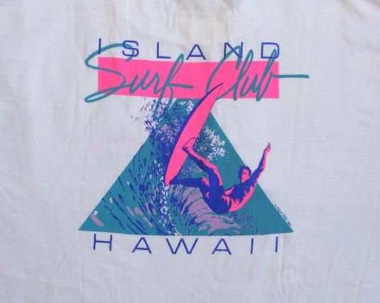 Island Surf Club Hawaii t shirt from the 80's. Original vintage t shirt. Deadstock meaning in never worn or washed and in new condition for a vintage shirt. There is a mark on lower back -see pictures.Tag- Super Cru Poly Tees Made in USAXL 100% CottonWhite