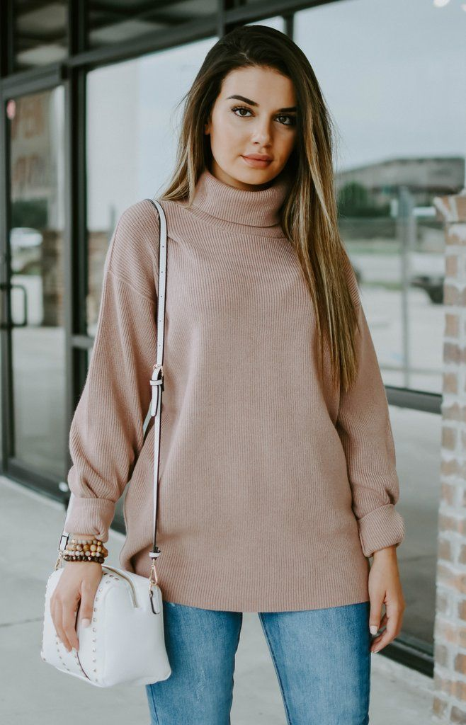 73e54bff3c97 Free People: Softly Structured Turtleneck Sweater - Mauve | All New ...