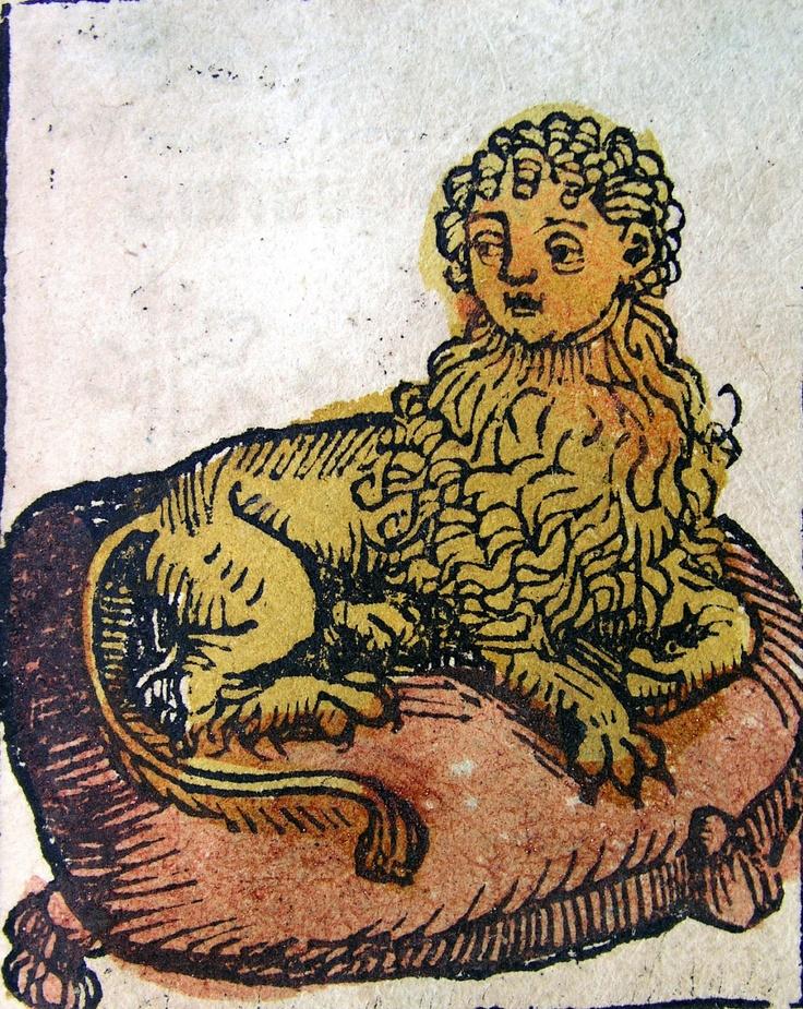 Man-headed Lion - woodcut illustration from Nuremberg Chronicle, 1493