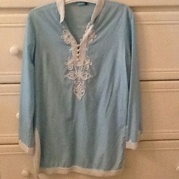 J. McLaughlin Embroidered Baby Blue Tunic Beautiful silky feeling tunic Size 8 by J. McLaughlin. Slightest white marking in the blue fabric (which may have come this way I'm not sure) that is not noticeable at all, but see picture. J. McLaughlin Tops Tunics