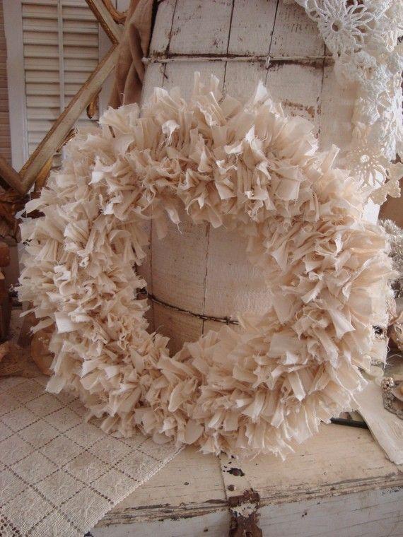 Shabby Muslin Rag Wreath Cream white by FleaChic on Etsy