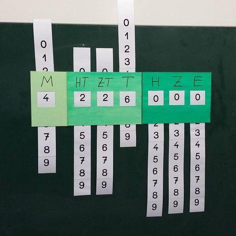 Unser Leseapparat für große Zahlen. Er lässt sich durch die verschiedenen Farben super runterbrechen bzw. aufbauen. Wir haben nochmal genau analysiert wie die Zahlen in den verschieden Farben gesprochen werden. (dunkel= Hunderter, mittel=Tausender, hell= Millionen) Außerdem kann man ihn super einsetzen, um Zahlen verändern zu lassen. Bsp: Was passiert mit der Zahl wenn du einen Einer dazuzählst? #mathematik #mathe #teachersofinstagram #teachlovesleeprepeat #lehrer #grundschule…