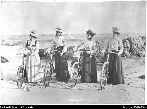Four young women with their bicycles on the beach, Moruya, New South Wales, ca. 1900 [picture]  From National Library of Australia collection http://nla.gov.au/nla.pic-vn4587429