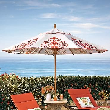 Resort Chic Peony Designer Umbrella Hand Painted