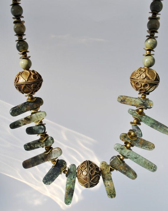 Green Kyanite sticks necklace set with brass focal by Beechtree