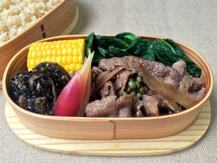 和牛牛蒡時雨煮、茗荷甘酢漬、茄子胡麻よごし、茹とうもろこし、小松菜お浸し、玄米ご飯320g