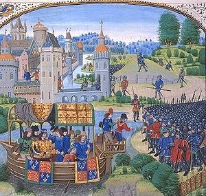 Painting of Richard II - Richard II meets the rebels on 13 June 1381 in a miniature from a 1470s copy of Jean Froissart's Chronicles.