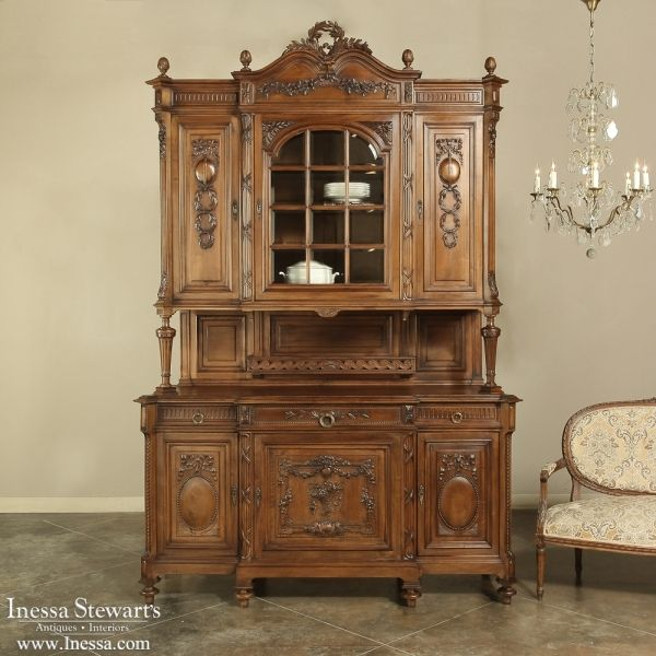 Antique Furniture   Antique Buffets and Sideboards   China Buffets   Grand 19th Century French Walnut Neoclassical China Buffet   www.inessa.com