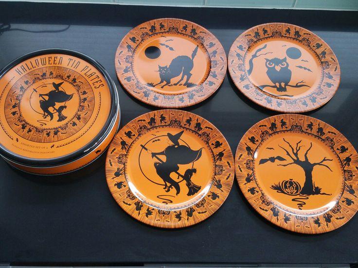 restoration hardware halloween tin plates with tin - Restoration Hardware Halloween