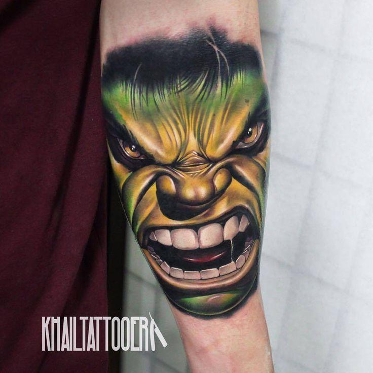 Realistic 'The Incredible Hulk' tattoo on the forearm. Tattoo artist: Khail Aitken