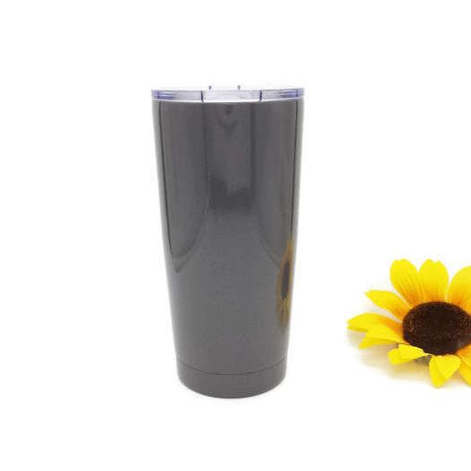 Personalized Tumbler - Painted Tumbler - Mothers Day - Gunmetal Gray - Powder Coated Tumbler - Gift for Her - Insulated 20 oz Tumbler Cup by EECustomHorseShoes on Etsy