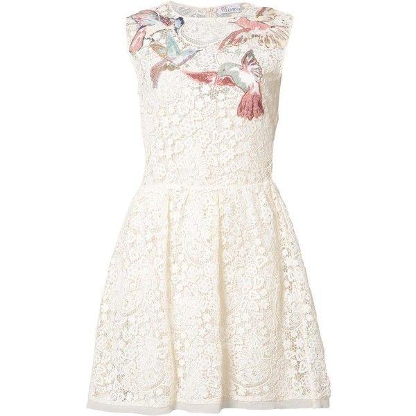 Red Valentino bird patches macramé dress ($1,340) ❤ liked on Polyvore featuring dresses, white, cotton dresses, red valentino dress, white dress, red valentino and white cotton dress